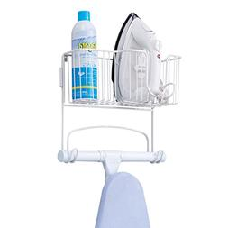 mDesign Wall Mount Ironing Board Holder with Large Storage B