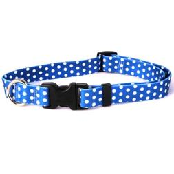 "Navy Polka Dot Dog Collar - Size Cat 8"" to 12"" Long - Made I"