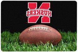 NCAA Nebraska Cornhuskers Classic Football Pet Bowl Mat, Lar