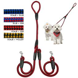 Nylon 2 Way Dog Coupler Leash No Tangle Pet Double Lead for