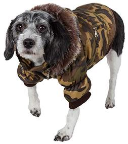 Pet Life Fashion Parka with Removable Hood  - Orange Metalli