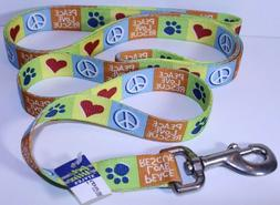 "Peace Love Rescue Dog Leash Hearts Paws Peace 6' Long 1"" Wid"
