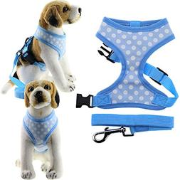 Bolbove Pet Adjustable Lovely Dots Mesh Harness and Leash Se
