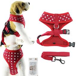 Bolbove Pet Adjustable Stars Mesh Harness and Leash Set for