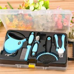 Pet Dog Cat Grooming Tools Kit Comb Nail Clipper Slicker Bru