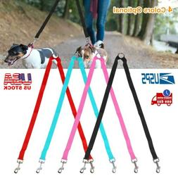 Pet Dual Double Lead Rope No Tangle Coupler Nylon Leash for