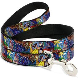 Buckle Down Pet Leash - Beauty & The Beast Stained Glass Sce