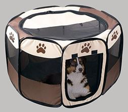 Pet Puppy Playpen Dog Kennel - Collapsible Folding Portable
