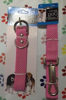 Pink Fashion Adjustable Nylon Dog Collar and Leash Set - Lim