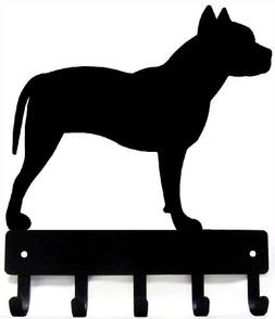 Pit Bull Terrier Key Rack & Dog Leash Hanger - Small 6 inch