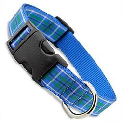 The Artful Canine Plaid Dog Collar, Blue Douglas Tartan, X-S