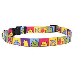 Yellow Dog Design Pop Art Dogs Dog Collar, Small-3/4 Wide fi