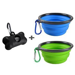 2 Pack Portable Collapsible Dog Bowl,Food Grade Silicone BPA