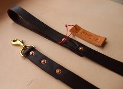 "Premium Leather Dog Leash - Over 6' Length - 1"" Width - Hand"