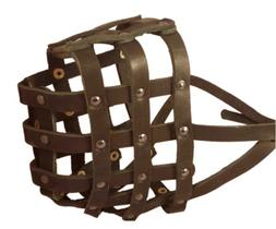 Real Leather Dog Basket Muzzle #115 Brown