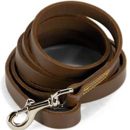 """Real Leather Dog Leash 5.5 Ft Brown Pet Training Lead 3/8"""" W"""