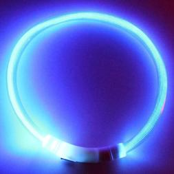 RECHARGEABLE LED Light-up Flash GLOW COLLAR Dog Pet Safety M
