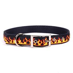 """Yellow Dog Design Red Flames Uptown Dog Collar, Large-1"""" Wid"""