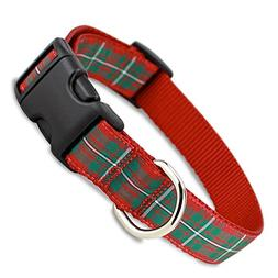 The Artful Canine Red Plaid Holiday Tartan Dog Collar, Mediu
