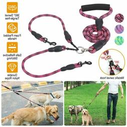 Reflective Safety Double Dog Leash No Tangle with Handle Lea
