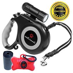 Retractable Dog Leash with Bright Flashlight For Small to Me