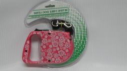 Retractable Dog Leash - Pink with White Flowers