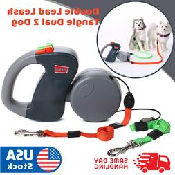 Retractable Pet Dog Double Lead Leash Tangle Dual 2 Dog 50bs