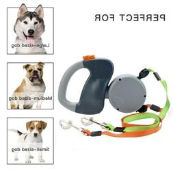NEW Retractable Pet Dog Double Lead Leash Tangle Dual 2 Dog