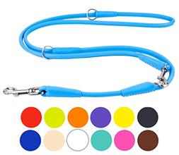 rolled leather dog leash adjustable