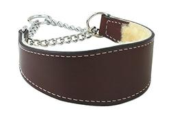 Sheepskin Lined Leather Martingale Dog Collar 1in wide by 10