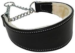 Sheepskin Lined Leather Martingale Dog Collar 1.75in wide by