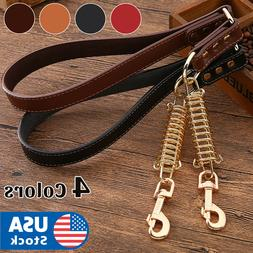 Short Leather Dog Leash for Large Dogs Training with Control