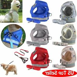 Small Dog Pet Puppy Harness And Leash Set Breathable Mesh Ve