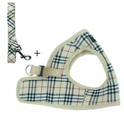 PUPTECK Soft Mesh Dog Harness with Leash Basic Plaid Padded