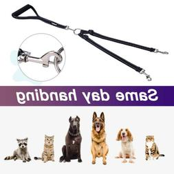 Strong-duty Nylon Double Dog Leash With Soft Handle No Tangl