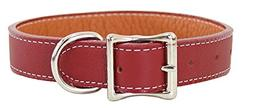 "Tuscany Leather Dog Collar Color: Red, Size: 5/8"" X 12"""