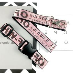 US OFF WHITE PINK Industrial Dog Cat Collar Lead Belt Strap