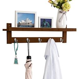 LANGRIA Coat Rack Shelf, Coat Rack Wall-Mounted Bamboo Woode