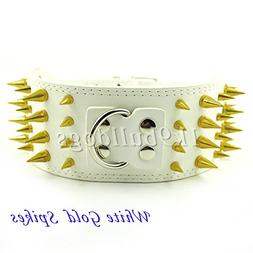 White Gold Spike 3inch Wide  New Styles Spiked Studded PU Le